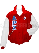 Alpha Rho Chi Varsity Letterman Jacket with Greek Letters and Crest, Sanguine/White