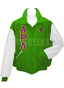 Alpha Rho Lambda Varsity Letterman Jacket with Greek Letters and Crest, Kelly Green /White