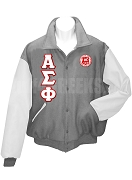 Alpha Sigma Phi Varsity Letterman Jacket with Greek Letters and Crest, Gray/White