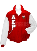 Alpha Sigma Rho Varsity Letterman Jacket with Greek Letters and Crest, Red/White