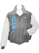 Alpha Sigma Theta Varsity Letterman Jacket with Greek Letters and Crest, Gray/White