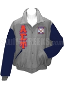 Alpha Sigma Upsilon Varsity Letterman Jacket with Greek Letters and Crest, Light Gray/Navy Blue