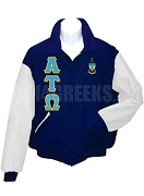 Alpha Tau Omega Varsity Letterman Jacket with Greek Letters and Crest, Navy Blue/White