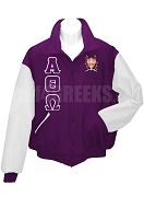 Alpha Theta Omega Varsity Letterman Jacket with Greek Letters and Crest, Purple/White