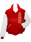 Alpha Theta Pi Varsity Letterman Jacket with Greek Letters, Red/White