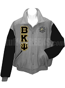 Beta Kappa Psi Varsity Letterman Jacket with Greek Letters and Crest, Gray/Black
