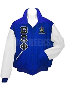 Beta Omega Phi Varsity Letterman Jacket with Greek Letters and Crest, Royal Blue/White