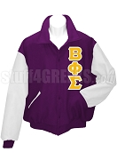 Beta Phi Sigma Varsity Letterman Jacket with Greek Letters, Purple/White