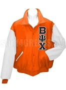 Beta Psi Chi Varsity Letterman Jacket with Greek Letters, Orange/White