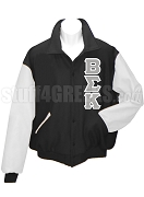 Beta Sigma Kappa Varsity Letterman Jacket with Greek Letters, Black/White