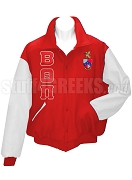 Beta Theta Pi Varsity Letterman Jacket with Greek Letters and Crest, Red/White