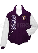 Beta Upsilon Chi Varsity Letterman Jacket with Greek Letters and Crest, Purple/White