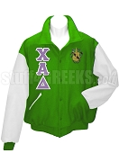 Chi Alpha Delta Varsity Letterman Jacket with Greek Letters and Crest, Kelly Green/White