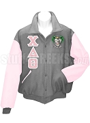 Chi Delta Theta Varsity Letterman Jacket with Greek Letters, Light Gray/Pink