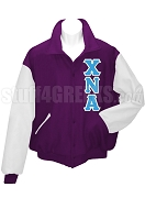 Chi Nu Alpha Varsity Letterman Jacket with Greek Letters, Purple/White
