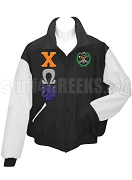 Chi Omega Psi Varsity Letterman Jacket with Greek Letters and Crest, Black/White