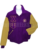 Chi Psi Varsity Letterman Jacket with Greek Letters and Crest, Purple/Old Gold