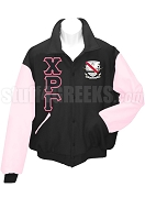 Chi Rho Gamma Varsity Letterman Jacket with Greek Letters, Black/Pink