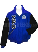 Chi Rho Omicron Varsity Letterman Jacket with Greek Letters and Crest, Royal Blue/Black