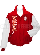 Chi Sigma Alpha Varsity Letterman Jacket with Greek Letters and Crest, Red/White