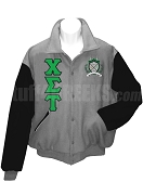 Chi Sigma Tau Varsity Letterman Jacket with Greek Letters and Crest, Gray/Black