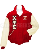 Chi Upsilon Sigma Varsity Letterman Jacket with Greek Letters and Crest, Red/Cream