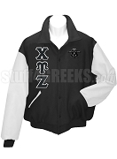 Chi Upsilon Zeta Varsity Letterman Jacket with Greek Letters, Black/White
