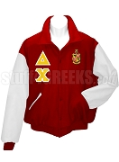 Delta Chi Varsity Letterman Jacket with Greek Letters and Crest, Red/White