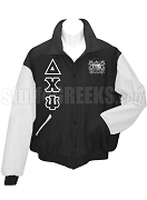 Delta Chi Psi Varsity Letterman Jacket with Greek Letters and Crest, Black/White