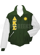 Delta Kappa Sigma Varsity Letterman Jacket with Greek Letters and Crest, Forest Green/White