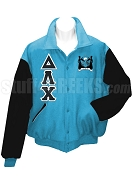 Delta Lambda Chi Varsity Letterman Jacket with Greek Letters and Crest, Baby Blue/Black