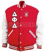 Delta Phi Delta Varsity Letterman Jacket with Greek Letters and Crest, Red/White