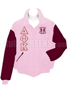 Delta Phi Kappa Varsity Letterman Jacket with Greek Letters and Crest, Pink/Crimson