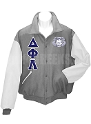 Delta Phi Lambda Varsity Letterman Jacket with Greek Letters and Crest, Gray/White