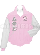 Delta Phi Sigma Varsity Letterman Jacket with Greek Letters and Crest, Pink/White