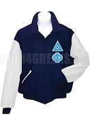 Delta Phi Varsity Letterman Jacket with Greek Letters, Navy Blue/White