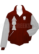 Delta Psi Alpha Varsity Letterman Jacket with Greek Letters and Crest, Wine/Gray