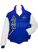 Delta Sigma Chi Varsity Letterman Jacket with Greek Letters and Crest, Royal Blue/White