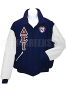 Delta Sigma Iota Varsity Letterman Jacket with Greek Letters and Crest, Navy Blue/White