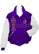 Delta Tau Delta Varsity Letterman Jacket with Greek Letters and Crest, Purple/White