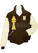 Delta Tau Lambda Varsity Letterman Jacket with Greek Letters and Embellished Crest, Brown/Cream
