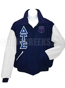 Delta Tau Sigma Varsity Letterman Jacket with Greek Letters and Crest, Navy Blue/White