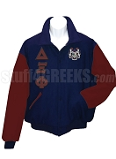 Delta Xi Phi Varsity Letterman Jacket with Greek Letters and Crest, Navy Blue/Maroon