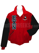 Epsilon Chi Nu Varsity Letterman Jacket with Greek Letters and Crest, Red/Black
