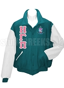 Eta Gamma Pi Varsity Letterman Jacket with Greek Letters and Crest, Teal/White