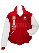 Eta Iota Sigma Varsity Letterman Jacket with Greek Letters and Crest, Red/White