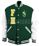 FarmHouse Varsity Letterman Jacket with Varsity Letters and Crest, Forest Green/White
