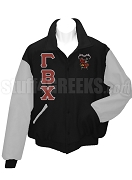 Gamma Beta Chi Varsity Letterman Jacket with Greek Letters and Crest, Black/Gray