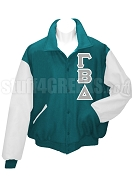 Gamma Beta Delta Varsity Letterman Jacket with Greek Letters, Teal/White