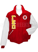 Gamma Epsilon Omega Varsity Letterman Jacket with Greek Letters and Crest, Red/White
